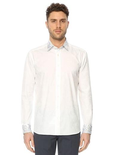 Etro Şal Desenli Uzun Kollu Gömlek Beyaz